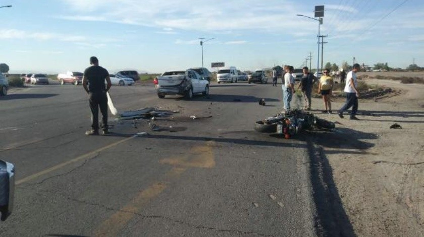 Fallece motociclista accidentado en Valle de Mexicali