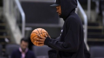 Golden State Warriors Kevin Durant holds a basketball during a team practice for the NBA Finals in Toronto on Saturday, June 1, 2019. THE CANADIAN PRESS/Nathan Denette - MANDATORY CREDIT