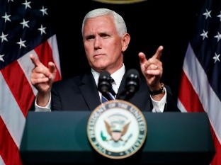 Mike Pence - Vice President Mike Pence gestures during an event on the creation of a United States Space Force, Thursday, Aug. 9, 2018, at the Pentagon. (AP Photo/Evan Vucci) - RECROP OF DCEV102