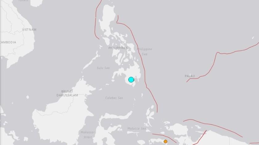 El epicentro fue en la isla de Mindanao al sur de Filipinas.(USGS)