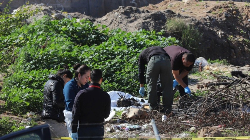 """El cuerpo calcinado fue localizado la mañana de ayer en un terreno baldío de la colonia Arenales """"N."""