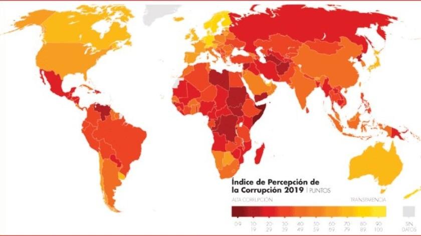 Con esta calificación, México mejoró ocho posiciones respecto al estudio de 2018, para ubicarse junto a países como Guinea, Laos, Maldivas, Mali, Myanmar y Togo.