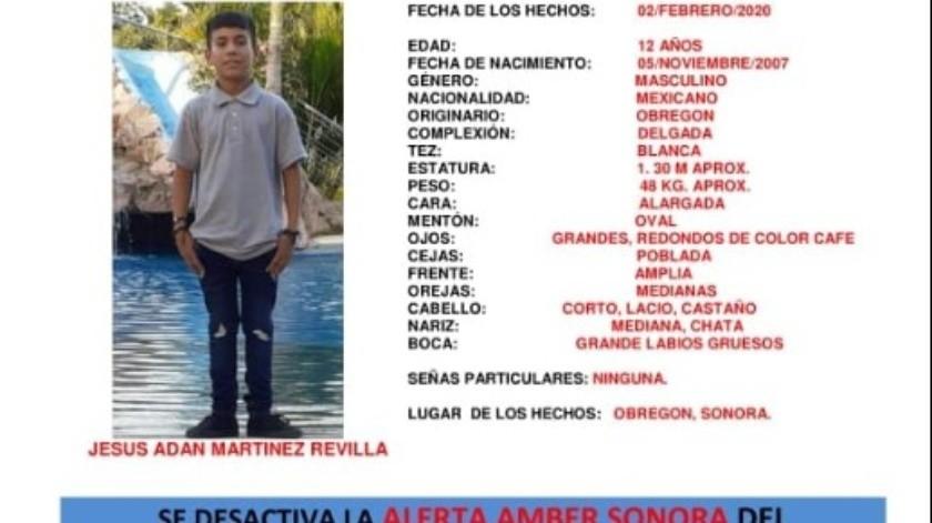 Familiares reportaron la localización del menor Jesús Adán, de 12 años.(Facebook)
