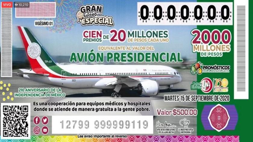 Boleto de la Lotería de la Nacional con imagen del avión presidencial(Gobierno de México)