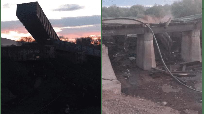 Por lo menos dos vagones de la pesada unidad cayeron del puente.(Especial)