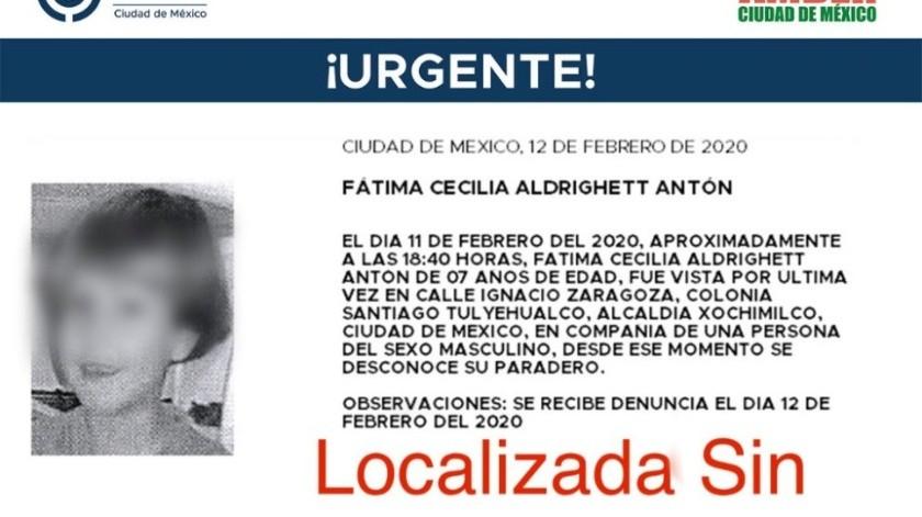 Fátima Cecilia, de 7 años, fue hallada dentro de una bolsa, completamente desnuda.(Especial)