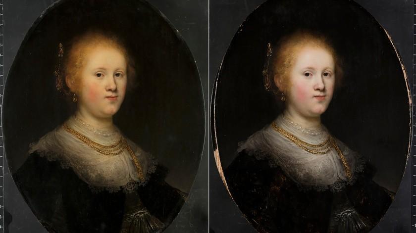 """Foto de antes y después de la restauración del cuadro """"Retrato de una mujer joven"""" de Rembrandt.(AP)"""