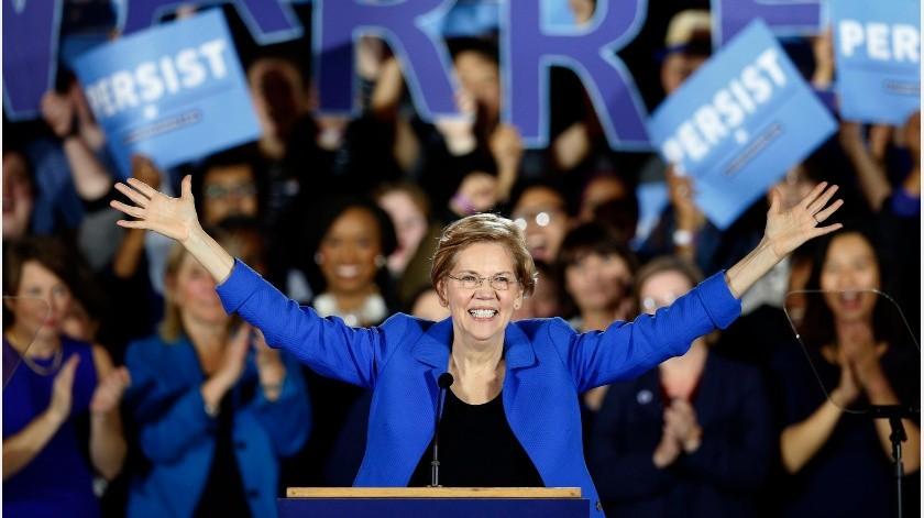 Warren obtuvo resultados más bien discretos en la mayoría de los 14 estados, incluido el suyo propio, Massachusetts, en el que quedó por detrás de Biden y de Sanders con un 20 %.(AP. Archivo GH.)