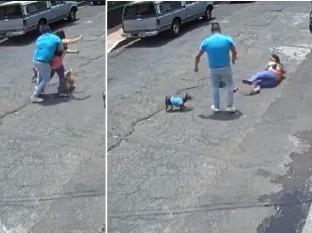 Taclea bruscamente a mujer que paseaba a perro tras descuidar a los suyos