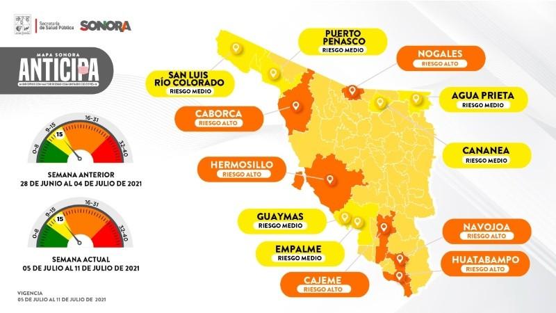 Mapa Sonora Anticipa: 6 municipios en riesgo alto.