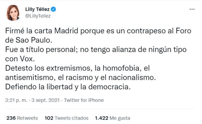 Lilly Téllez niega alianza con Vox pese a firmar carta Madrid del PAN    Noticias de México   EL IMPARCIAL