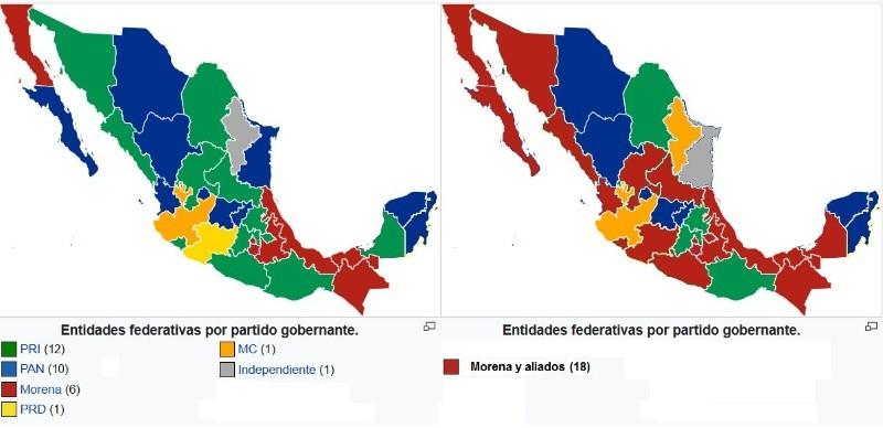 Así estaba el mapa electoral para gobernador por estado antes y después de las elecciones.